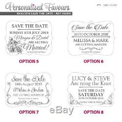 PACKAGE DEAL 50x Custom Engraved Wooden Save the Dates for Wedding/Engagement