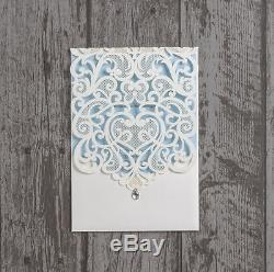 Personalised Diamante Laser Cut Ivory Pocketfold Wedding Invitations Invites