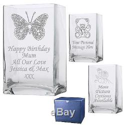 Personalised Rectangle Vase 1 60th 70th 80th 90th 100th Birthday Gift Present