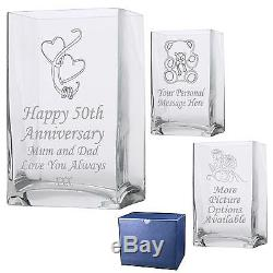 Personalised Rectangle Vase 40th 45th 50th 55th 60th Wedding Anniversary Gift