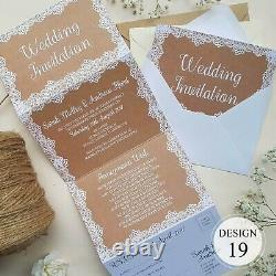 Personalised Wedding Invitations Concertina Day or Evening Invites + Envelopes