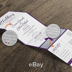 Personalised Wedding Invitations Day or Evening Concertina Fold with RSVP (G4)