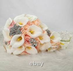Pink Rose White CallaLily Cascaded Bride Brooch Bouquet Waterfall Wedding Flower
