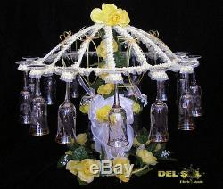 Quinceanera/Wedding Umbrella Cheers Toast holder cups decor, hold 16 glass cups