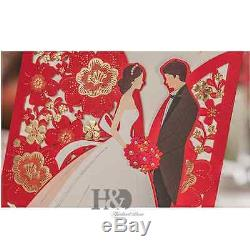 Red Wedding Invitation Cards With Envelopes, Seals, Custom Personalized Printing