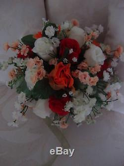 Rose Lily Bouquet 20 Pc. Wedding Pkg. Red Black or Your Colors Free Shipping