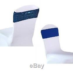 Rose gold blue glitter sequin chair bands spandex sashes tie bow ribbon wedding