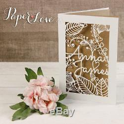 Rustic Chabby Shic Laser Cut Flowers Personalised Wedding Invitations Day or Eve