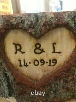 Rustic carved heart log cake stand, personalised or un-personalised, log slice