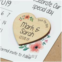 Save The Date Calendar Cards PERSONALISED Rustic Wooden Save The Date Magnets