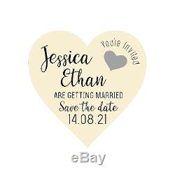 Save The Date Cards Wooden Wedding Magnets Personalised Boho Fridge Rustic Heart