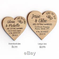 Save The Date Evening Wooden Wedding Magnets Personalised Rustic Wood Oak Heart