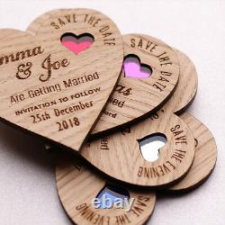 Save The Date Wood Heart Magnet Wooden Wedding Magnets Coloured Hearts