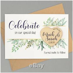 Save The Date Wooden Magnets PERSONALISED Boho Rustic Heart Save The Date Cards