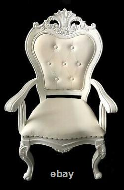 Set Of 2 King & Queen Hand Carved White Throne Chairs For Sale Not Hire