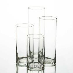 (Set of 12) 8 Cylinder Clear Glass Vases Wedding Party Centerpieces