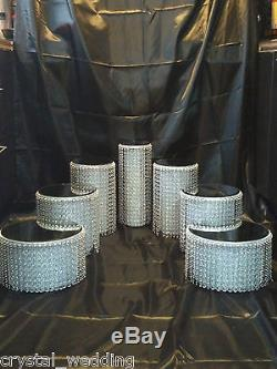 Set of 7 tiered ascending style Wedding cake crystal effect display stands