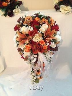 Silk Bridal Bouquet & 20 pc. Wedding Package Designed In Your Colors Fall Colors