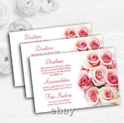 Soft Pastel Pink Gentle Roses Personalised Wedding Guest Information Cards