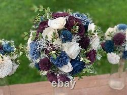 Sola Wood Flower Bouquets! (1) Bride (4) bridesmaids (1) Toss. Navy and burgundy