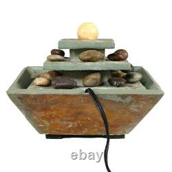 Sunnydaze Ascending Slate Tabletop Water Fountain Feature with LED Light 8