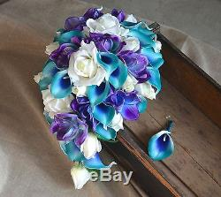 Teal Purple Cascade Bridal Bouquet Groom Boutonniere -Real Touch Flowers Wedding