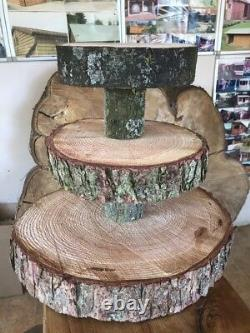 Three Tiered Rustic Wooden Wedding cake/ Cup Cake stand, 16/17 base
