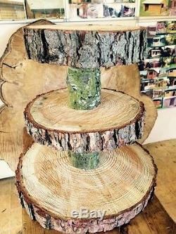 Three Tiered Rustic Wooden Wedding cake/ Cup Cake stand, centre piece, 15 Base