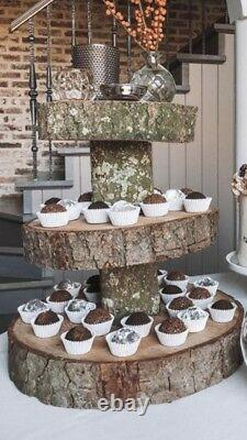 Three Tiered Rustic Wooden Wedding cake/ Cup Cake stand, centre piece, 17 Base