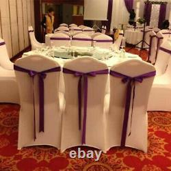 Universal 50/100 pcs Polyester Spandex Wedding Chair Covers Arched Front White