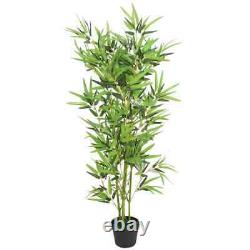 VidaXL Artificial Bamboo Plant with Pot 47.2 Green Fake Leaf Decor Indoor Home