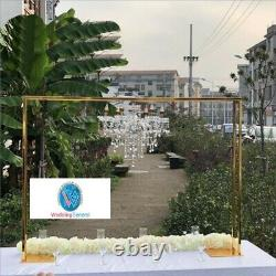WeddingGeneral's Gold Metal Flower Arch Backdrop Stand with Crystal Chandelier