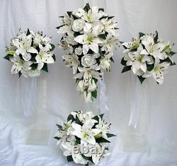 Wedding Bouquet Set, White Lily & Roses, Real Touch