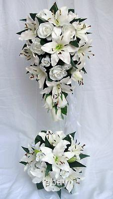 Wedding Bouquet Set, White Lily & Roses, X 6 Items