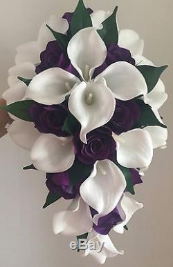 Wedding Bouquet White Real Touch Calla lillies and purple silk roses Brides