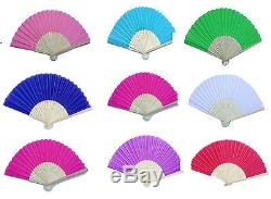 Wedding Favour Silk Fabric Paper wooden Personalised Hand Fans Party Favour