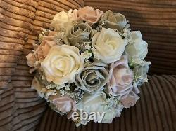 Wedding Flowers Package Pink Grey / Ivory Posy Bouquet Pearls & Diamantes