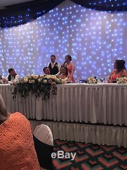 Wedding Head Table Backdrop Navy, White, with lights