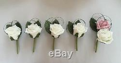 Wedding Package Artificial Flowers Glitter Rose Bouquet Bride Vintage Pink Ivory