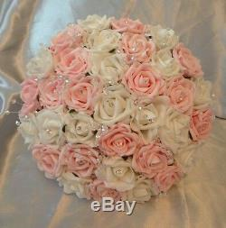 Wedding Package-artificial Flowers Foam Rose Bouquets Pink White Bride Crystals