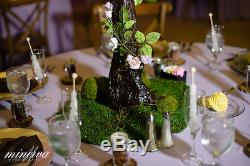 Wedding Table Centerpieces 10 faux Trees w LED lights flowers moss forest