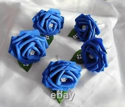 Wedding flowers Royal blue & White rose Bouquet Posy Wand Buttonholes PACKAGE