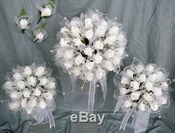 White Roses with Crystal Sprays and feathered Tulle Brides Wedding Bouquet Set