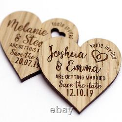 Wooden Save The Date Wedding Magnets Personalised Wood Fridge Rustic Heart