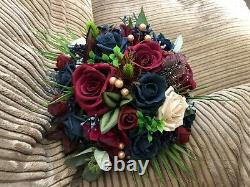 XL Bridal Bouquet Package Navy Blue & Burgundy Roses With Thistles & Berries
