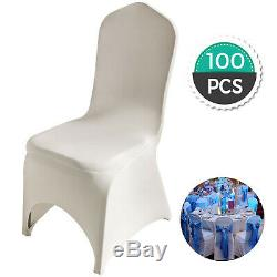 100 Pcs Chaise Ivoire Couvre Polyester Spandex Extensible Parti Slipcovers Mariage