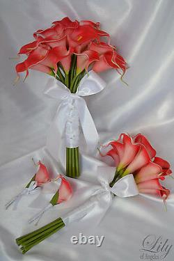 4 Pièces Wedding Bridal Bouquet Real Touch Calla Lily Flowers Coral Care01