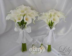 4 Pièces Wedding Bridal Bouquet Real Touch Calla Lily Flowers White Caiv03