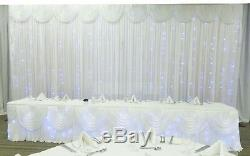 Mariage Stage Kit Complet Backdrop Rideau Swag Led Guirlande Lumineuse Pipes Royaume-uni Stand