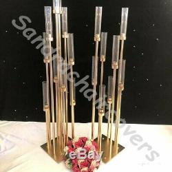 Mariages Grand Or Candelabra Bougeoir Métal Or Mariage Table Centerpiece